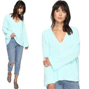{L} Free People La Brea Chunky Knit Mint Sweater